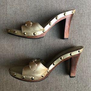 FRANCO SARTO Studded Gold Wood Heels Sandals 7